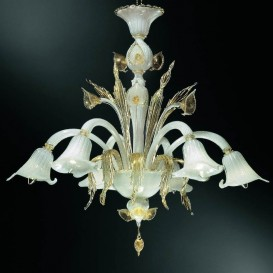 Aqua - Murano chandelier 5 lights White Gold