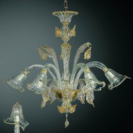 Aqua - Murano chandelier 5 lights Crystal Gold