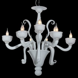 Serenella - Murano glass chandelier 9 lights Crystal white MIlk