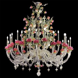 Lotus flowers 72 lights - Murano glass chandelier Rezzonico