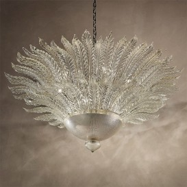 Murano chandelier Leaves 12 lights Silver