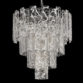 Bark - Murano glass chandelier clear glass