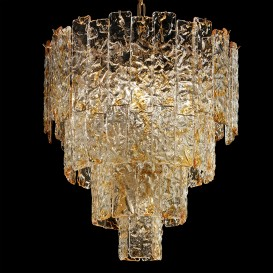 Bark - Murano glass chandelier amber glass