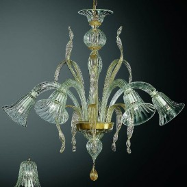 Ca' d'Oro - Murano chandelier 5 lights Crystal Gold