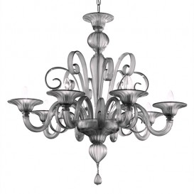 San Marco - Murano glass chandelier grey glass