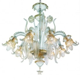 Canal Grande - Murano glass chandelier 6 lights Crystal Gold
