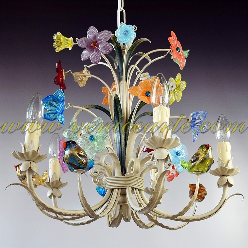 Birds Murano Glass Chandelier