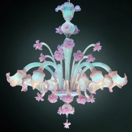Colombina - Murano glass chandelier 6 lights Opal Pink