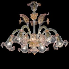 Fusina - Murano chandelier 6 lights Crystal Pink Gold