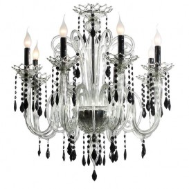 Gocce - Murano chandelier 8 lights Crystal Black