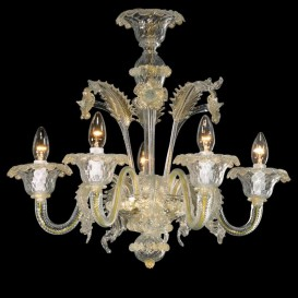 Guglie - Murano chandelier 5 lights Crystal Gold