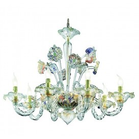 Redentore - Murano chandelier 6 lights Crystal Gold Polychrome