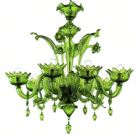 Rialto - Murano chandelier 6 lights All Green
