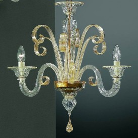 San Marco - Murano glass chandelier 3 lights Crystal Gold