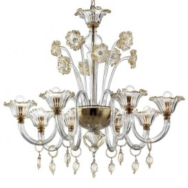 Sospiri - Murano chandelier 8 lights Crystal Gold