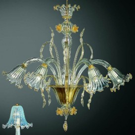 Tiepolo - Murano glass chandelier 5 lights Crystal Gold