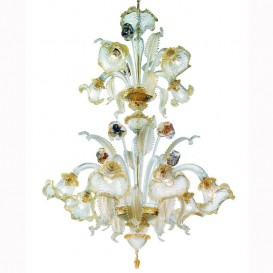 Giudecca - Murano chandelier 12 lights Crystal Gold Polychrome