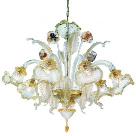 Giudecca - Murano chandelier 6 lights Crystal Gold Polychrome