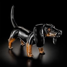 Small Black dachshund in Murano glass