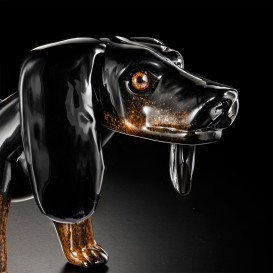 Small Black dachshund in Murano glass - detail