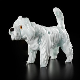 Small white poodle with fur in Murano glass