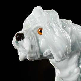 Small white poodle with fur in Murano glass detail