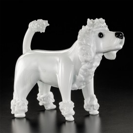 Small white poodle in Murano glass