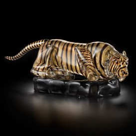 Small Gold tiger in Murano glass