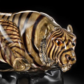 Small Gold tiger in Murano glass detail