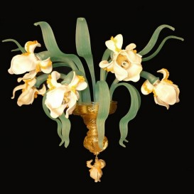 White Iris 5 lights - Murano wall sconce