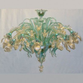 Golden Iris 12 lights - Murano ceiling lamp