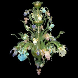 Iris light green - Murano chandelier 8 lights