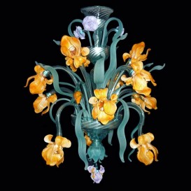 Iris orange Flowers 12 lights - Murano glass chandelier