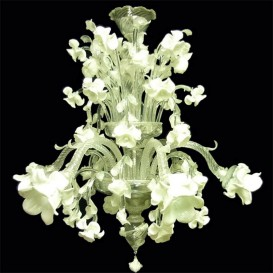 Garden of silver roses 6 lights - Murano chandelier