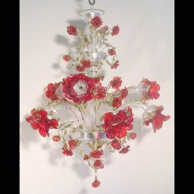 Garden of red roses 9 lights - Murano chandelier