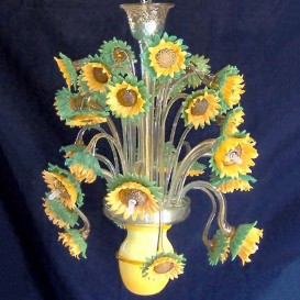 Sunflowers Impressionism 9 lights - Murano glass chandelier