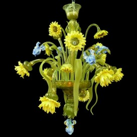 Sunflowers 9 lights - Murano glass chandelier