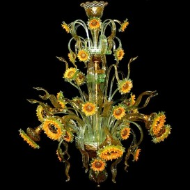 Van Gogh Sunflowers 8 lights - Murano glass chandelier