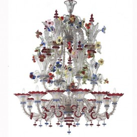 Canaletto - Murano glass chandelier 12 lights Crystal Polychrome
