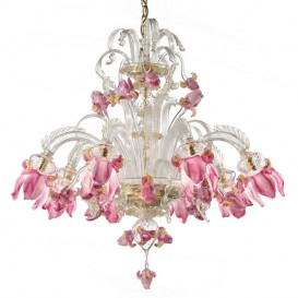 Iris Rosa Canaletto 8 lights - Murano glass chandelier