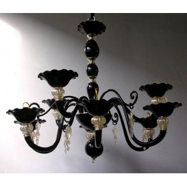 Black pearls - Murano chandelier 8 lights
