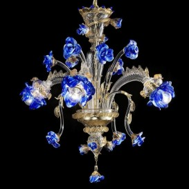 Garden of blue roses 3 lights - Murano glass chandelier
