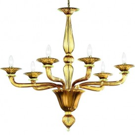 Burano - Murano chandelier 6 lights Amber Gold