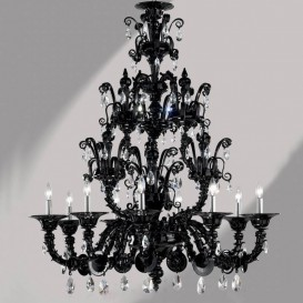 Murano glass chandelier Black Rezzonico 9 lights