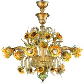 Sunflowers amber-green 8 lights - Murano chandelier