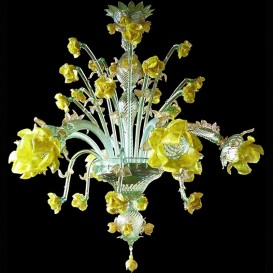 Murano Chandelier Yellow Roses 6 lights
