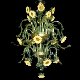 Sunflowers 20 lights - Murano glass chandelier