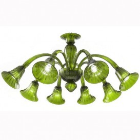 Frari - Murano chandelier 8 lights All Green