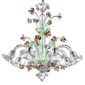 La Fenice - Murano chandelier 8 lights Crystal Polychrome Green led