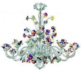 Mocenigo - Murano chandelier 12 lights Crystal Polychrome